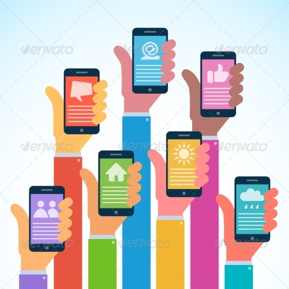 GraphicRiver Hands with Modern Smartphones Flat Design 8166859