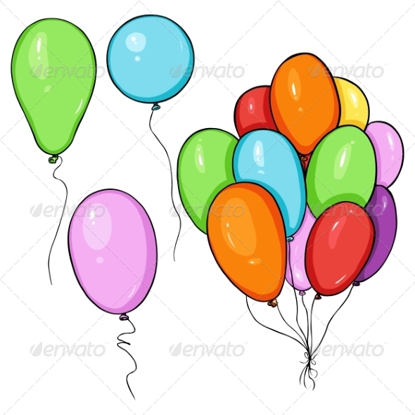 Set of Cartoon Color Balloons