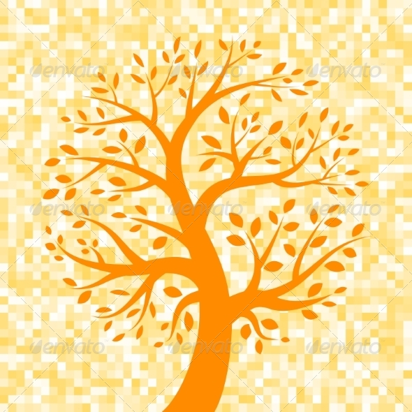 GraphicRiver Orange Tree Icon on Pixel Background 8166916