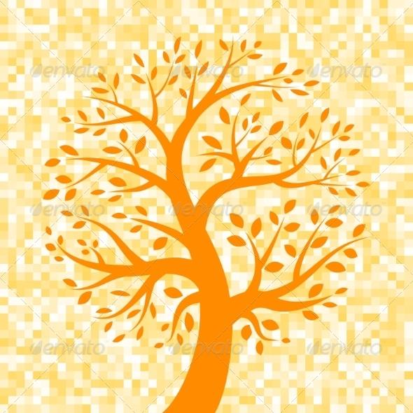 GraphicRiver Orange Tree Icon on Pixel Background 8166916