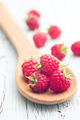 raspberries on wooden spoon - PhotoDune Item for Sale