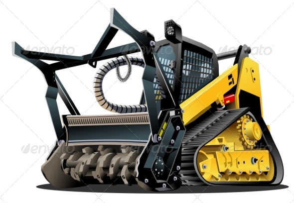 Cartoon Land Clearing Mulcher