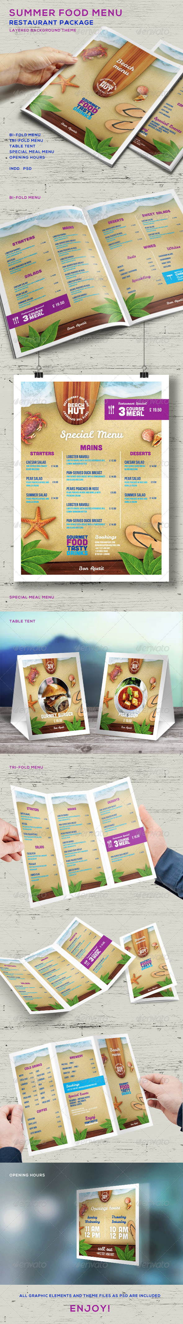 GraphicRiver Summer Food Menu Restaurant Package 8167477