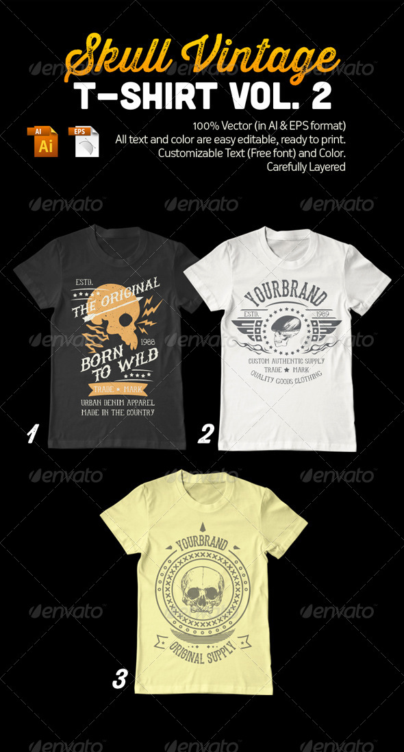 GraphicRiver Skull Vintage T-Shirt Vol 2 7917506