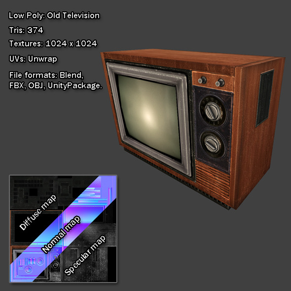 3DOcean Low Poly Old Television 8167543