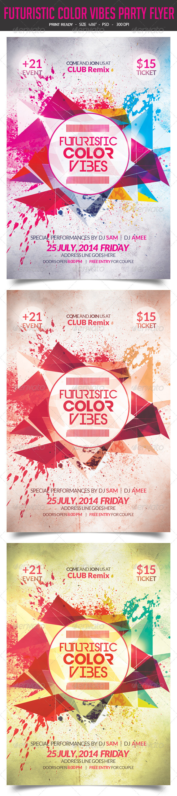 GraphicRiver Futuristic Color Vibes Party Flyer 8168341