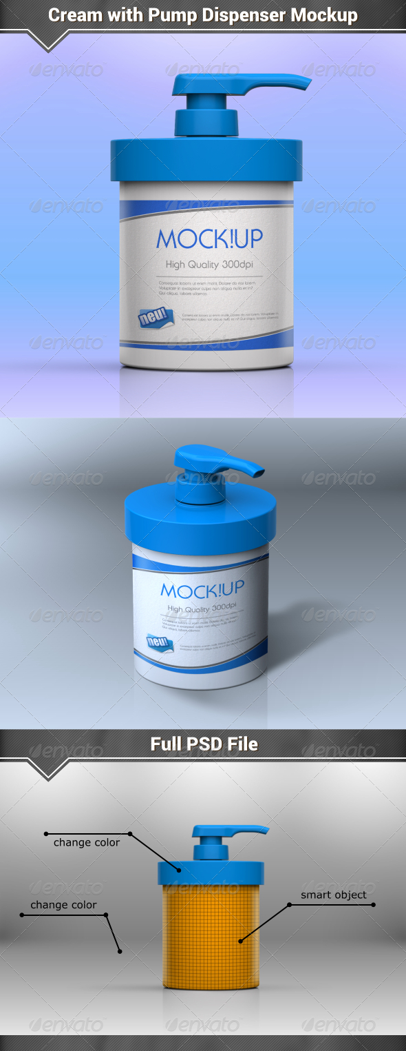 GraphicRiver Cream with Pump Dispenser Mockup 8168503