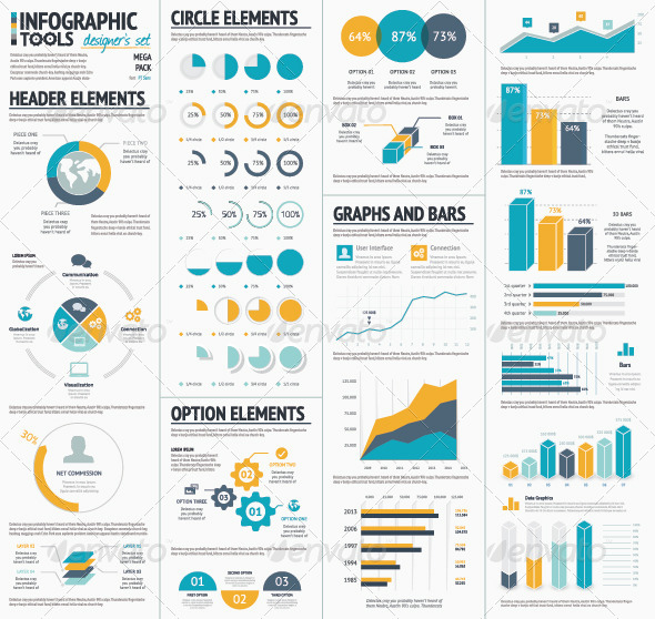 Large Infographic Vector Elements Collection