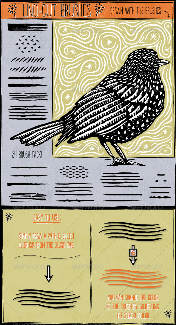 GraphicRiver Lino Cut Brushes 8169101