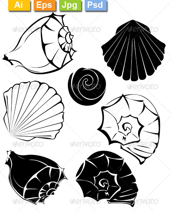 GraphicRiver Silhouette of Seashells 8170687