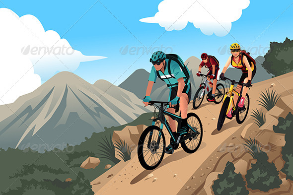 GraphicRiver Mountain Bikers on the Mountain 8170689