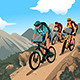 Mountain Bikers on the Mountain - GraphicRiver Item for Sale