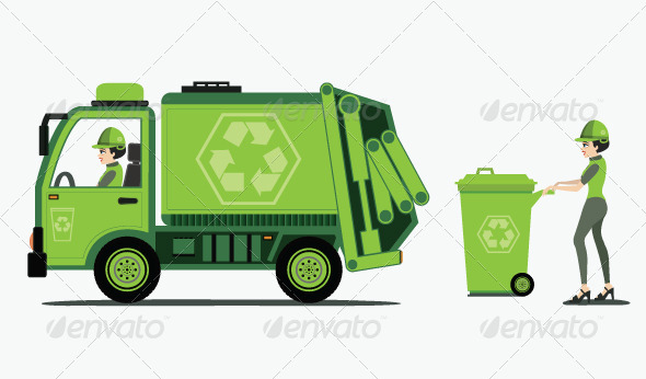 GraphicRiver Garbage Truck Picking up Trash 8170849