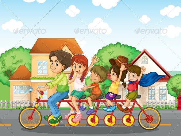 GraphicRiver A Family Biking Together 8170851