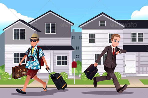 GraphicRiver People Going to Work and Vacation Concept 8170864