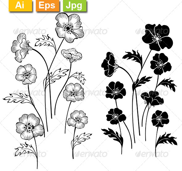 GraphicRiver Silhouettes Delicate Flowers 8170891