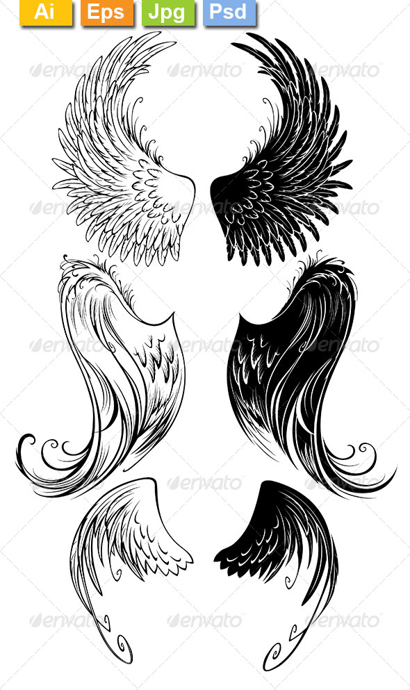 GraphicRiver Stylized Angel Wings 8170954