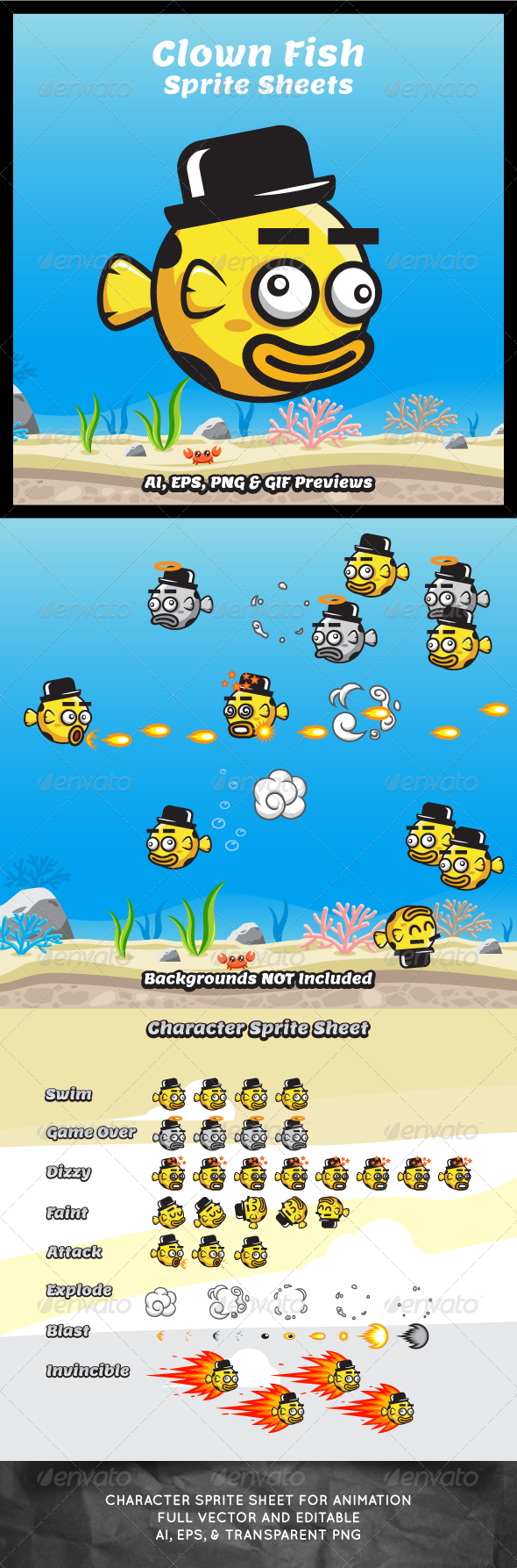 GraphicRiver Game Asset Clown Fish Sprite Sheets 8171599