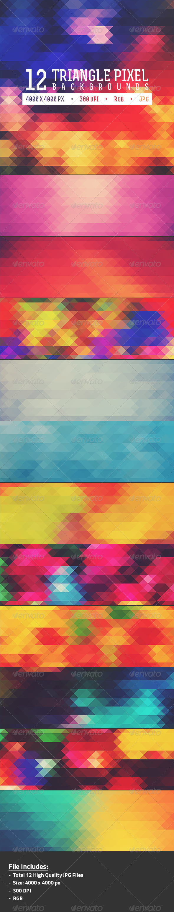 GraphicRiver 12 Triangle Pixel Backgrounds Pack 2 8171664