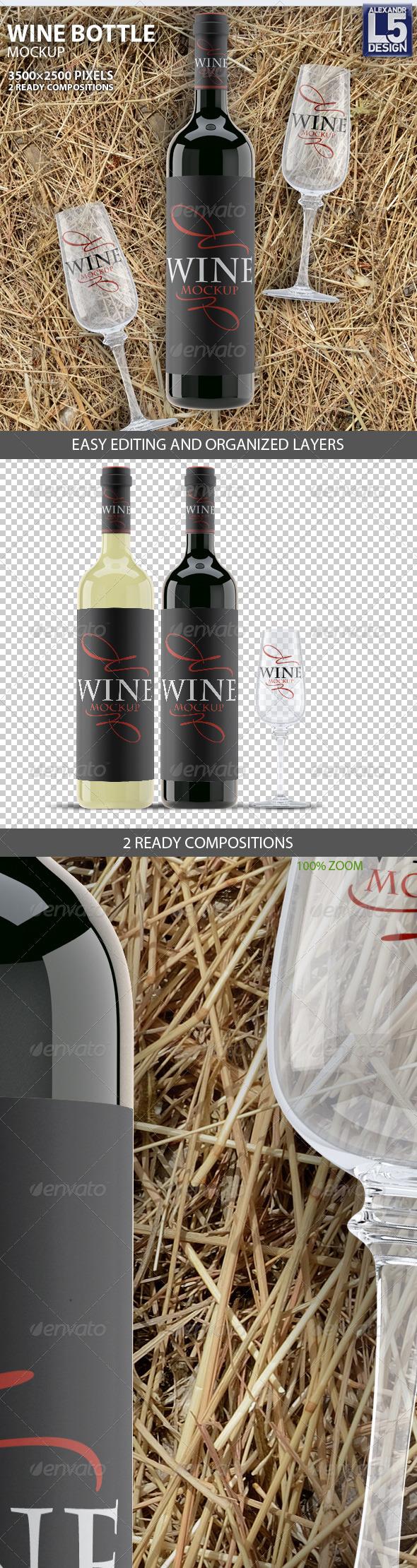 GraphicRiver Wine Bottle Mockup 8171738