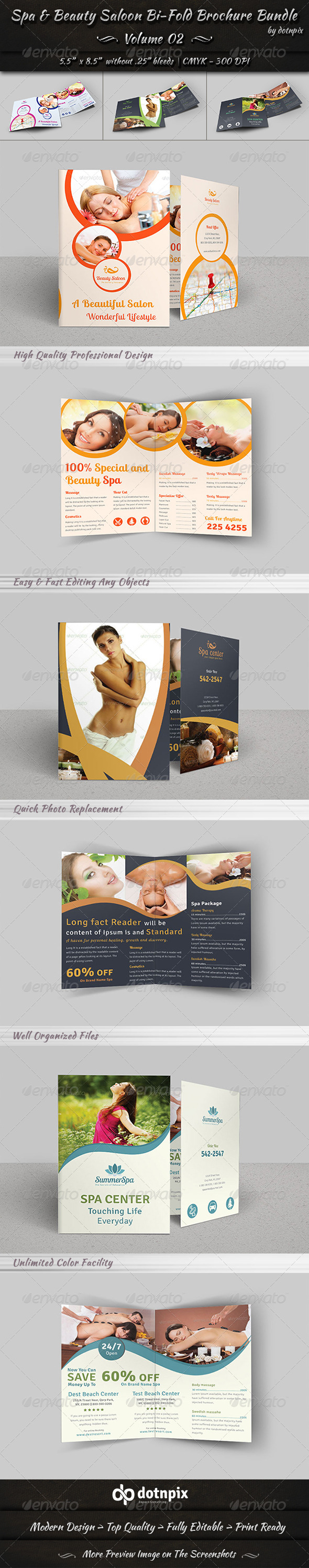 GraphicRiver Spa & Beauty Saloon Bi-Fold Brochure Bundle v2 8172316