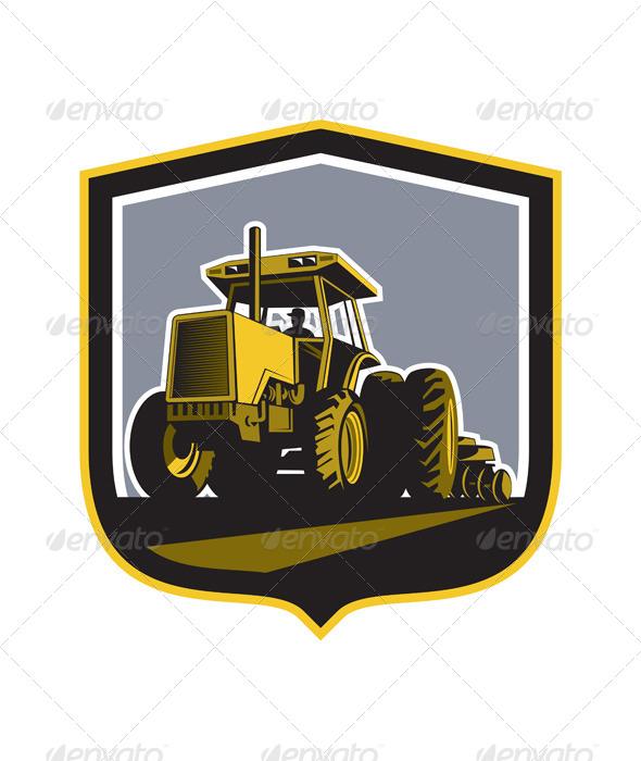 GraphicRiver Farmer Driving Vintage Farm Tractor Plowing Retro 8172771