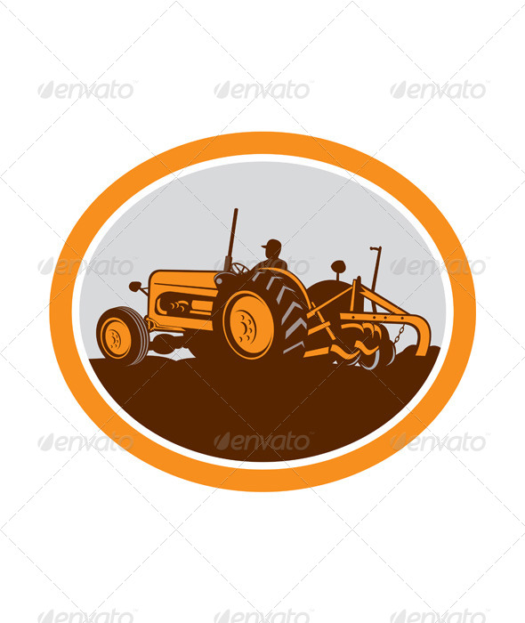 GraphicRiver Vintage Farm Tractor Farmer Plowing Oval Retro 8172776