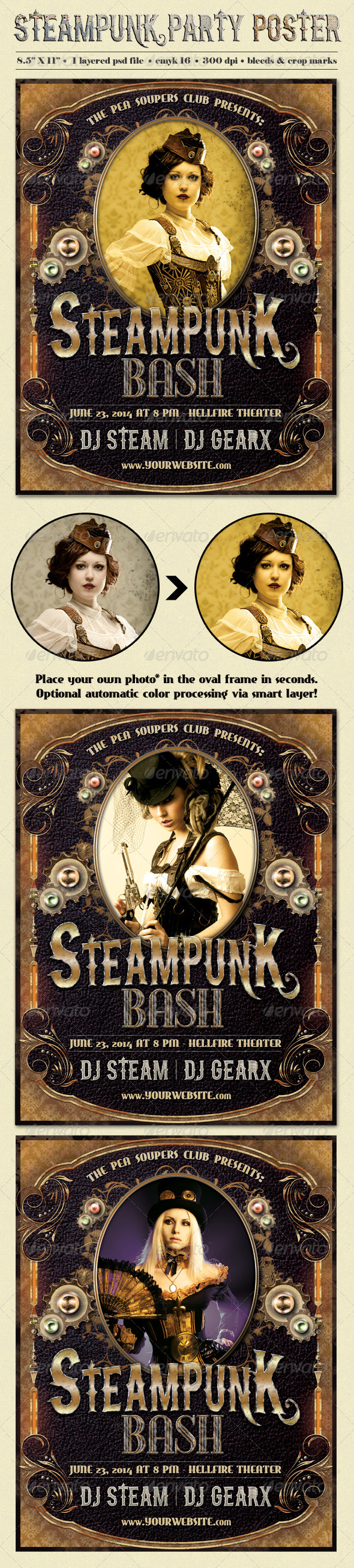 GraphicRiver Steampunk Party Poster Template 8168920