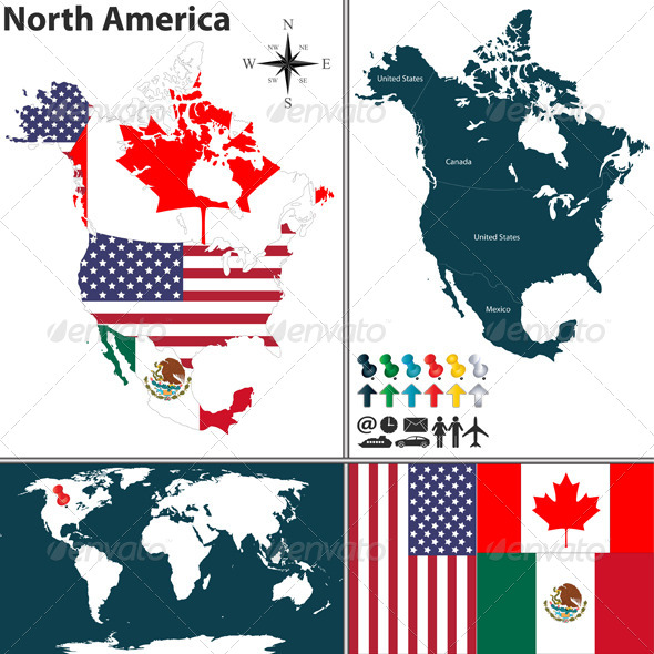 GraphicRiver Map of North America 8172874