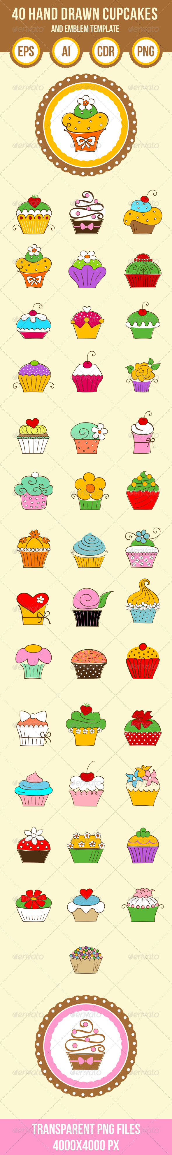 40 Hand Drawn Cupcakes and Emblem Shape