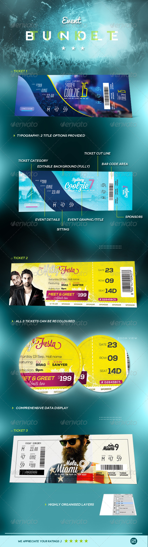 GraphicRiver Event Tickets Bundle 8173402