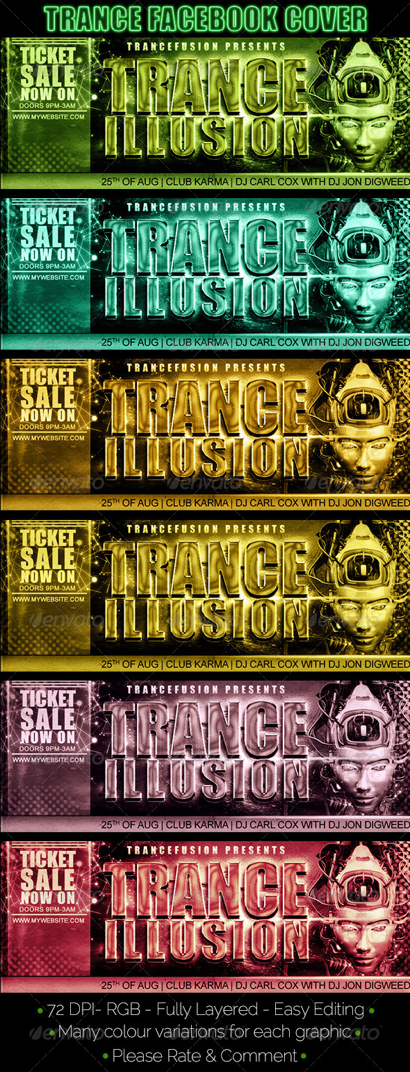 GraphicRiver Trance Themed Facebook Cover 8173543