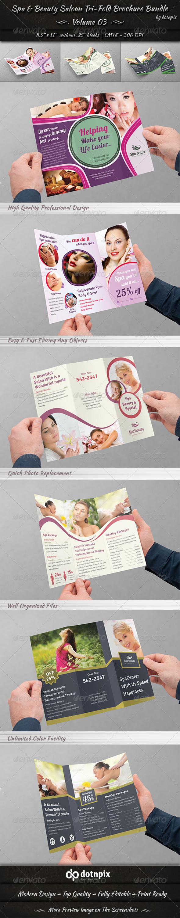 GraphicRiver Spa & Beauty Saloon Tri-fold Brochure Bundle v3 8173558