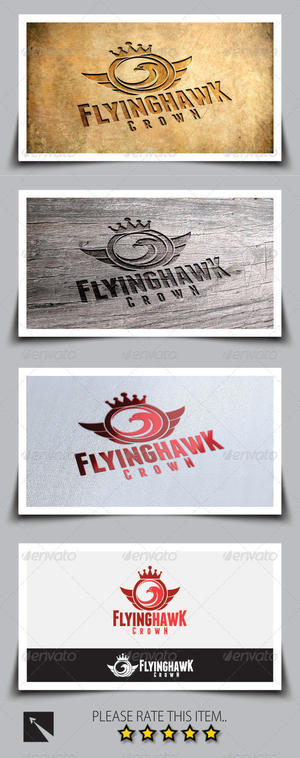 GraphicRiver Flying Hawk Crown Logo Template 8173646