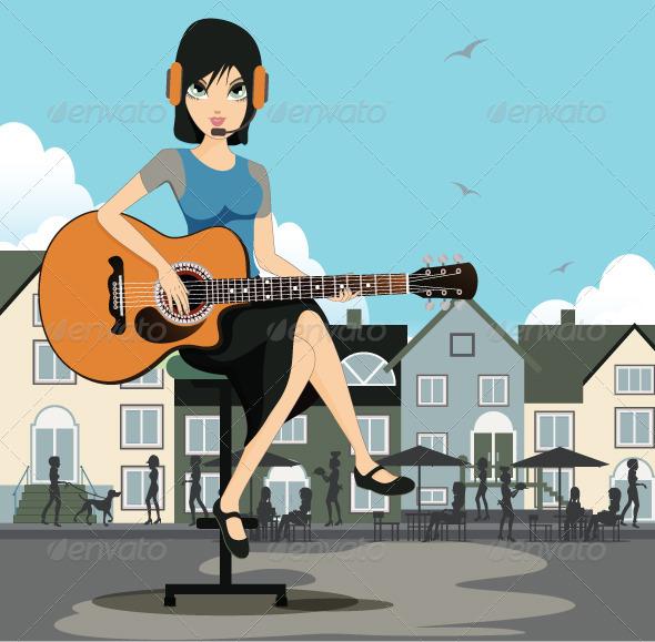 GraphicRiver Woman Guitarist 8173834