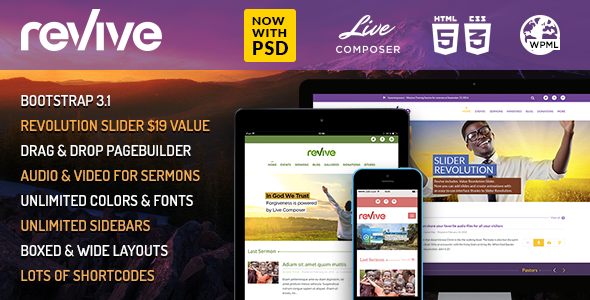Revive: Church WP Theme Powered by LiveComposer - Churches Nonprofit