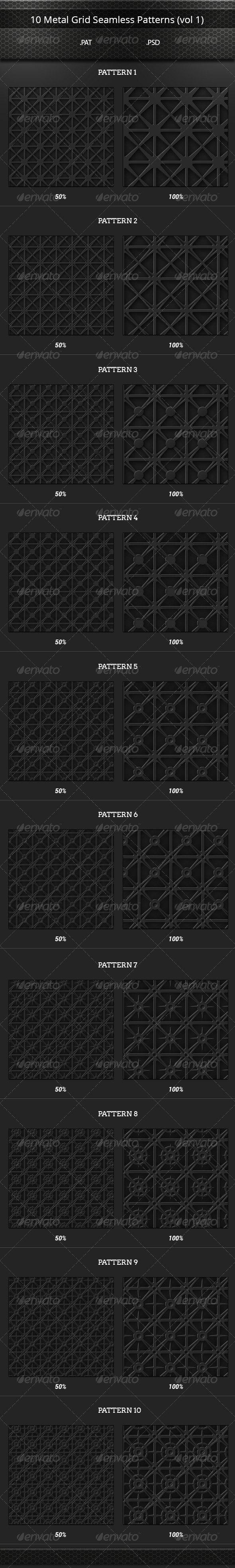 GraphicRiver 10 Metal Grid Tileable Patterns Set vol 1 8174344