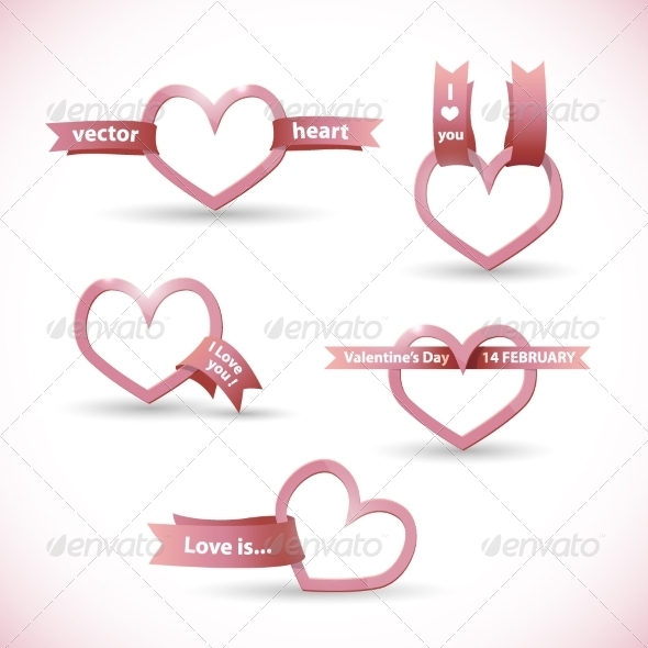 GraphicRiver Banner in the Form of a Heart with Ribbon 8174613