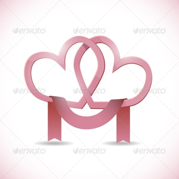 GraphicRiver Vector Banner in the Form of Two Hearts with Ribbon 8174623