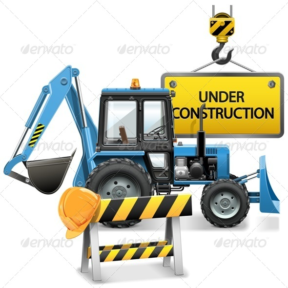 GraphicRiver Under Construction Concept with Tractor 8174912