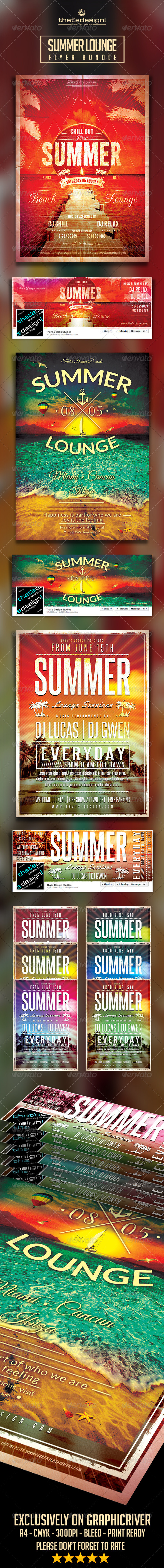 GraphicRiver Summer Lounge Flyer Bundle 8174928
