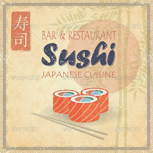 Retro Vintage Style Sushi on Paper with Bamboo