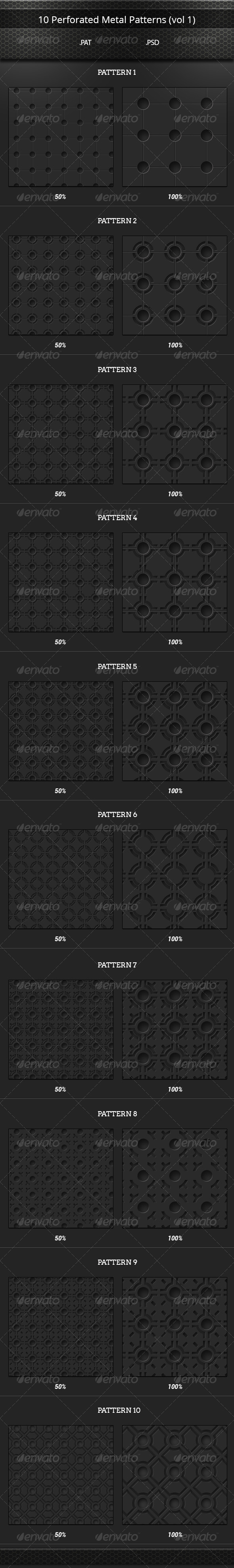 GraphicRiver 10 Perforated Metal Tileable Patterns vol 1 8175177