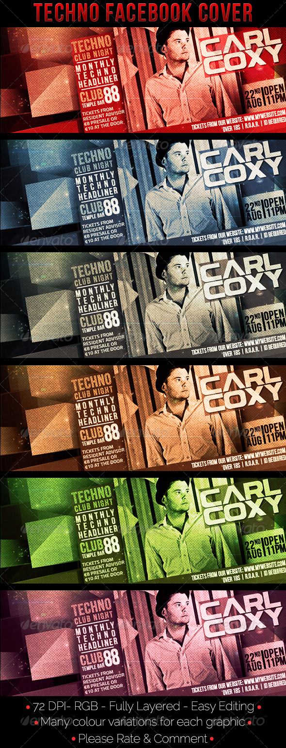 GraphicRiver Techno Facebook Cover 8175422