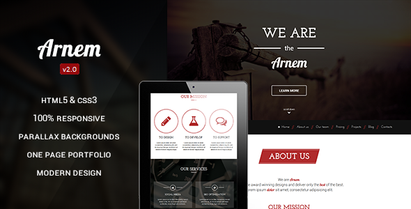 Arnem - Creative One Page Parallax Theme - Drupal CMS Themes