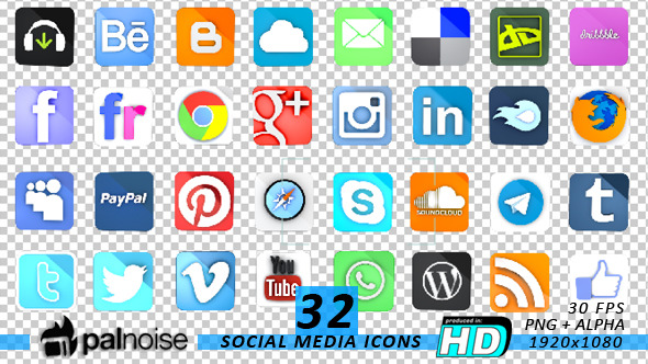 3D Social Media & Internet Icons 32-Pack