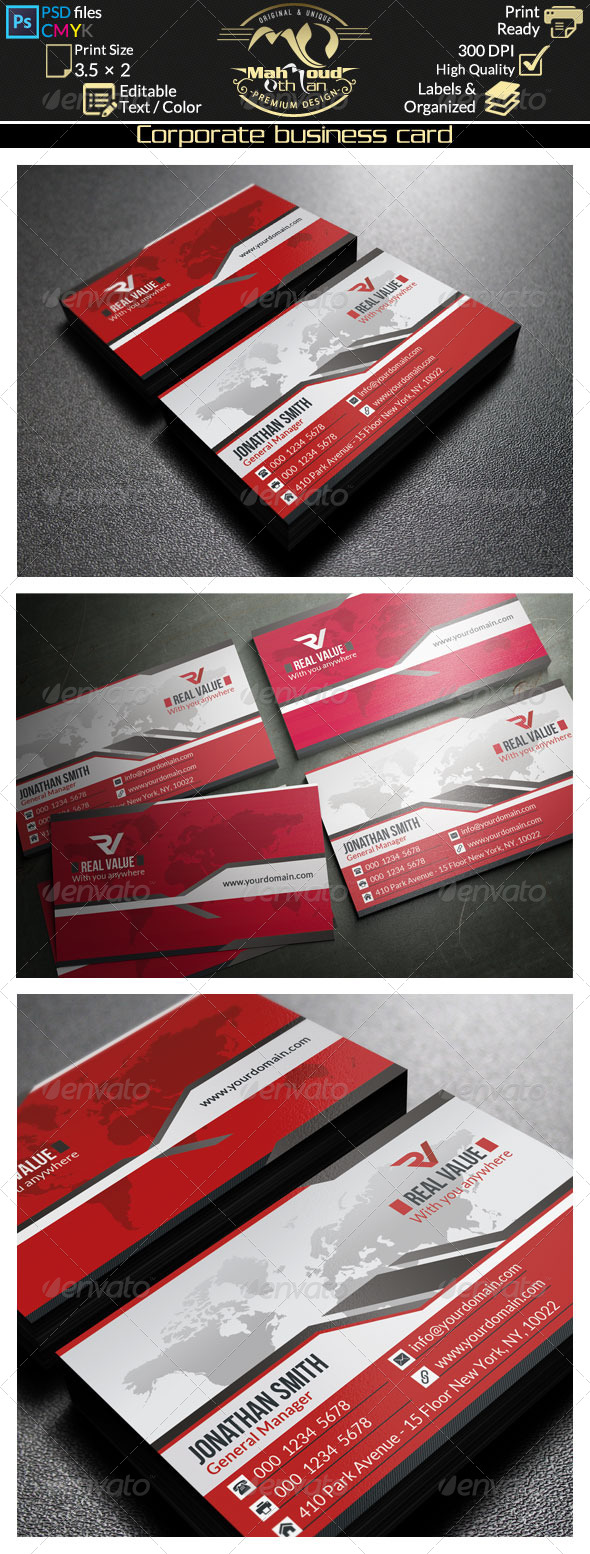 GraphicRiver Modern Red Business Card 35 8175512