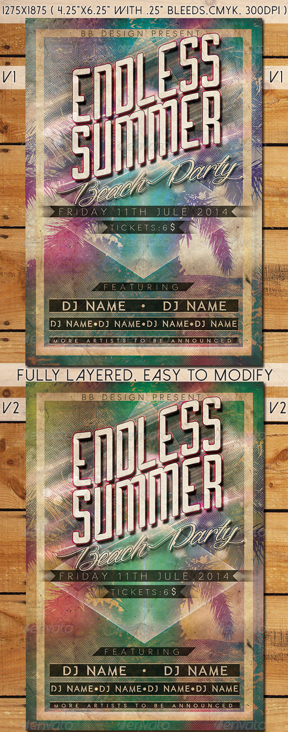 GraphicRiver Summer Beach Party Flyer 8176293