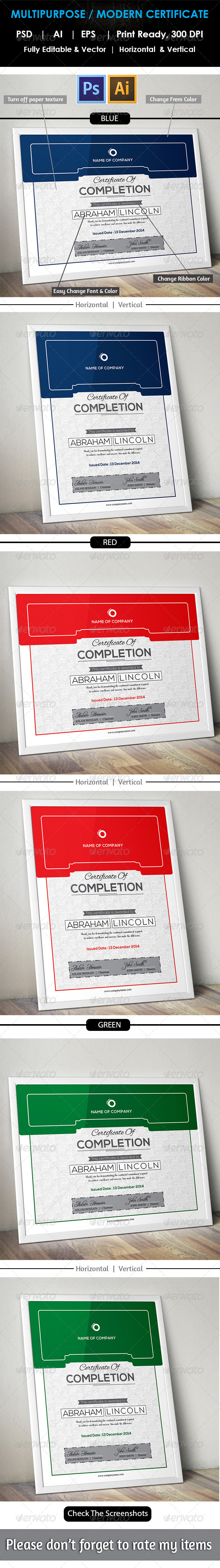 GraphicRiver Simple Multipurpose Certificate GD010 8177107