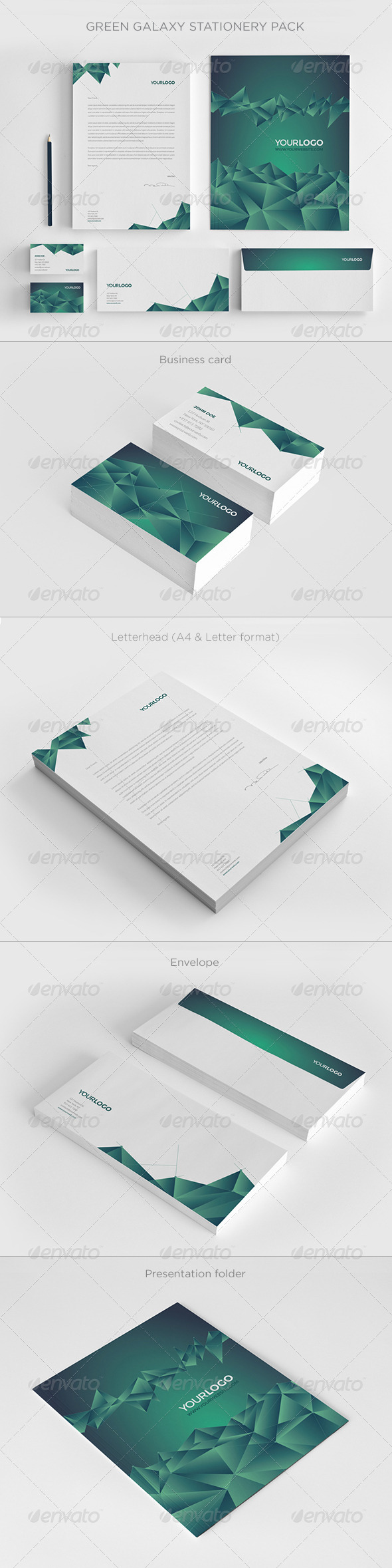 GraphicRiver Green Galaxy Stationery 8177390